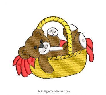 Diseño bordado regalo de oso en canasta