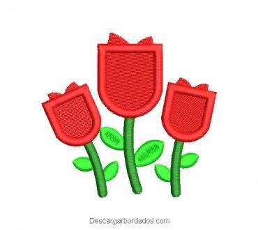 Diseño bordado regalos de rosas para máquina