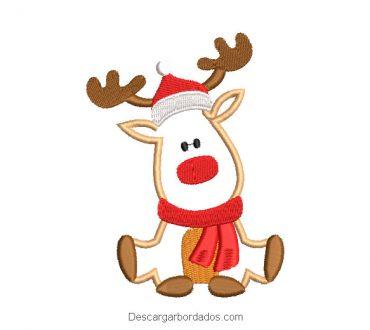 Diseño bordado reno de navidad con chalina