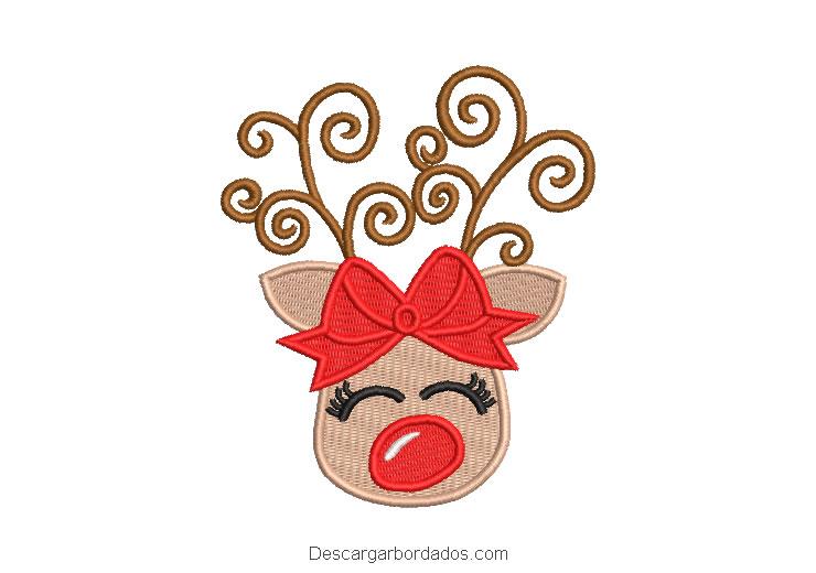 Diseño bordado reno de navidad con lazo