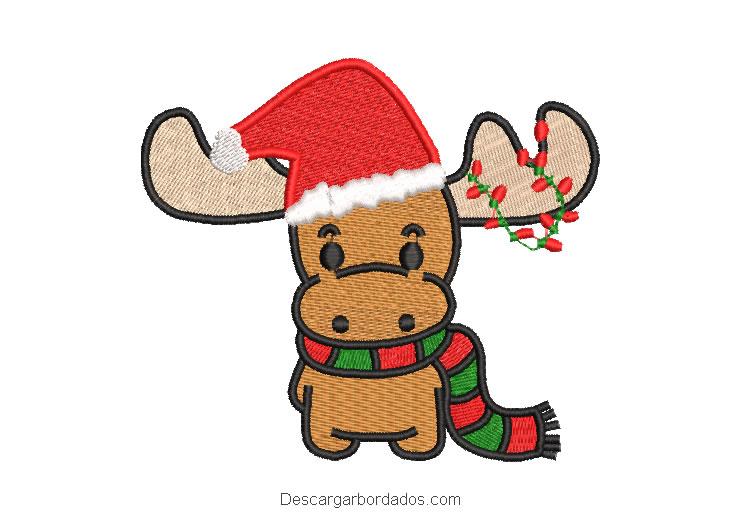 Diseño bordado reno de navidad con luces