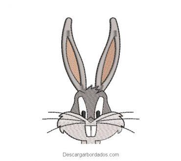 Diseño bordado rostro conejo de looney tunes