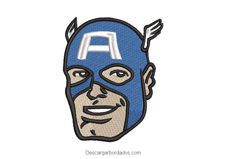 Diseño bordado rostro de Capitán América