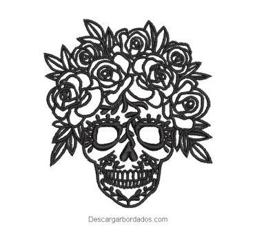 Diseño bordado rostro de calavera catrina con rosas