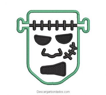 Diseño bordado rostro de frankenstein
