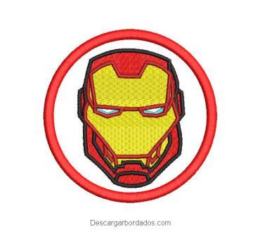 Diseño bordado rostro de iron man en circulo