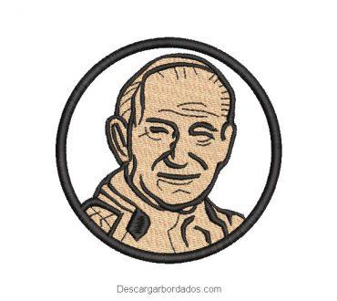 Diseño bordado rostro de juan pablo segundo