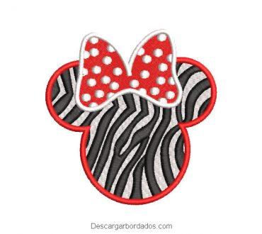 Diseño bordado rostro de minnie mouse zebra