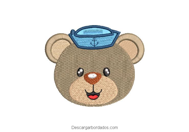 Diseño bordado rostro de oso marinero
