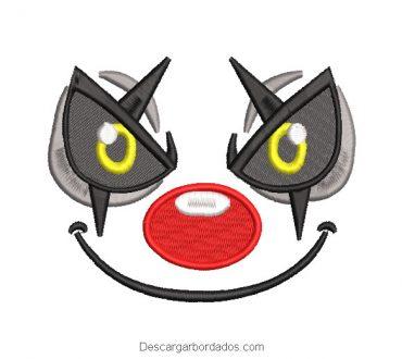 Diseño bordado rostro de payaso