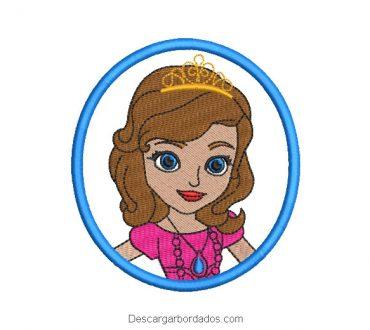 Diseño bordado rostro princesa sofia