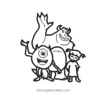 Diseño bordado silueta familia monsters inc