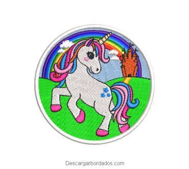 Diseño bordado sticker de unicornio