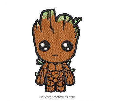 Diseño bordado superhéroe Groot para máquina