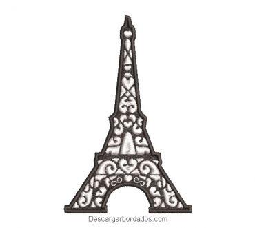 Diseño bordado torre eiffel con corazones
