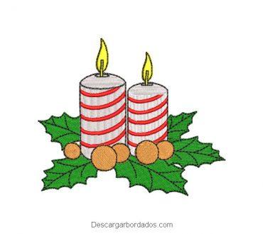 Diseño bordado vela de navidad para máquina