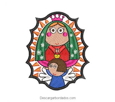 Diseño bordado virgen de guadalupe animada