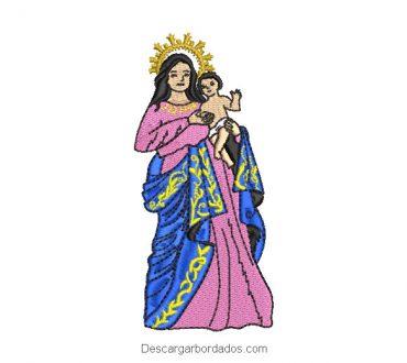 Diseño bordado virgen maría bebé en brazos