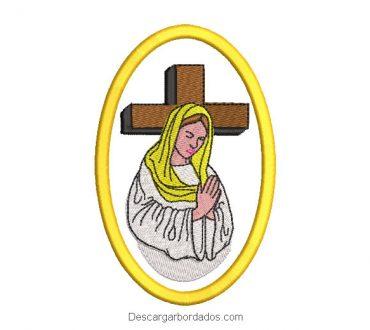Diseño bordado virgen maria con cruz rezando