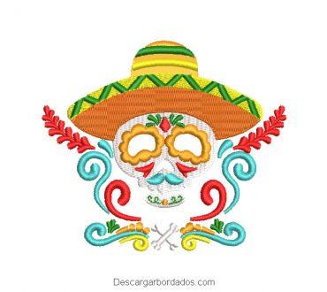 Diseño de calavera catrina bordado mexicano