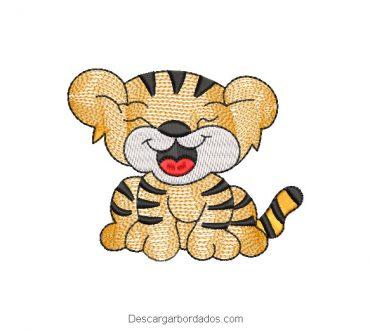 Diseño de tigre infantil para bordar en máquina
