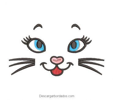 Diseño rostro de gato para bordar en máquina