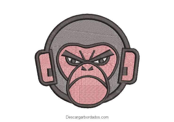 Diseño rostro de mono para parche de bordado