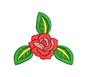 Diseños Bordado Rosas con Ramas Verdes