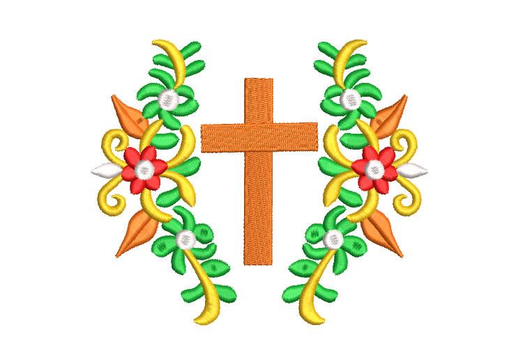 Diseños Bordados de Flores con Cruz