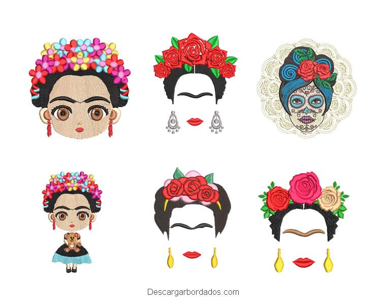 Diseños de frida kahlo paquete de bordado