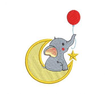 Elefante Bebé con Luna Diseño de Bordado