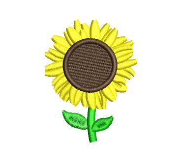 Flor de Girasol con Hojas Diseños de Bordado