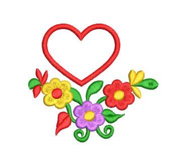 Flores de Colores con Corazón Diseños de Bordado