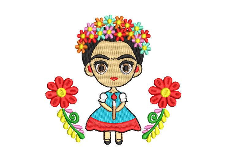 Frida Kahlo Animada con Flores Diseños de Bordado