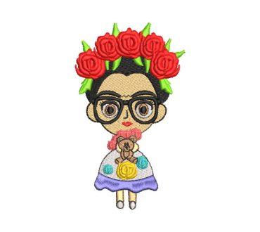 Frida Kahlo Muñeca con Lentes Diseños de Bordado