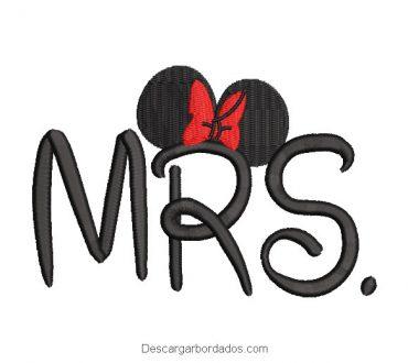 Mrs Mickey Mouse Diseño de Bordado
