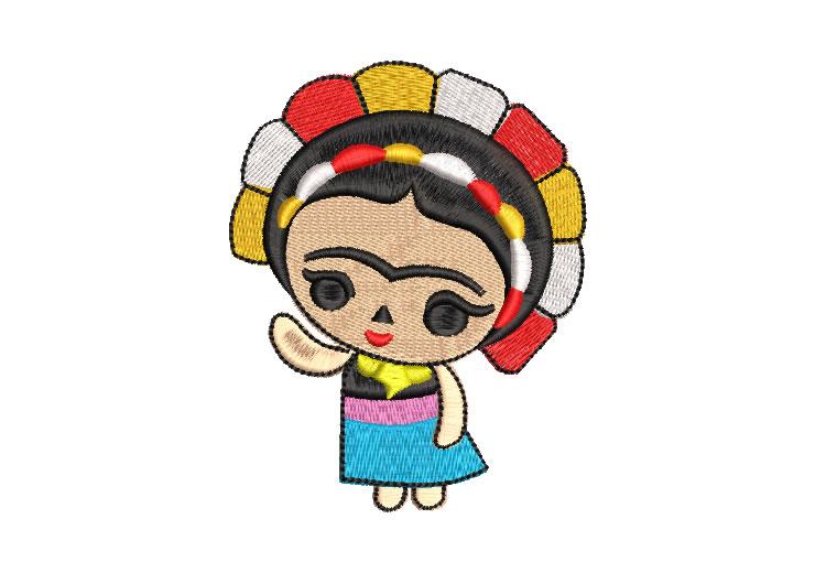 Muñeca Frida Kahlo con Flores Diseños de Bordado