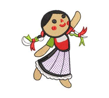 Muñeca Infantil con Vestido Diseños de Bordado
