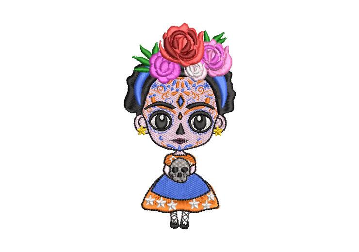 Muñeca Mexicana Frida Kahlo Animada Diseños de Bordado