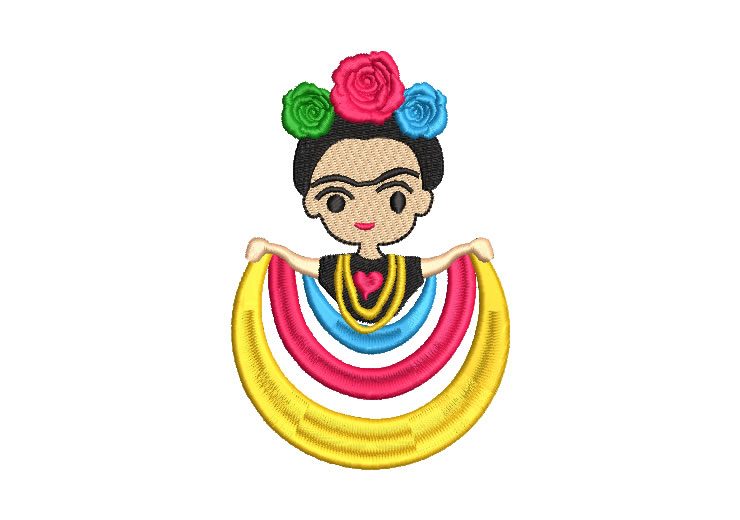 Muñeca Mexicana Frida Kahlo con Rosas Diseños de Bordado