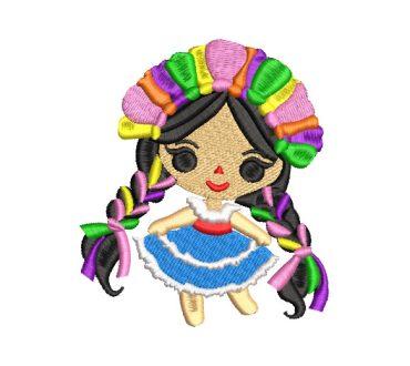 Muñeca Mexicana Frida con Vestido Diseños de Bordado