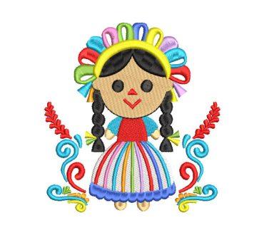 Muñeca Mexicana Lele con Flores Diseños de Bordado