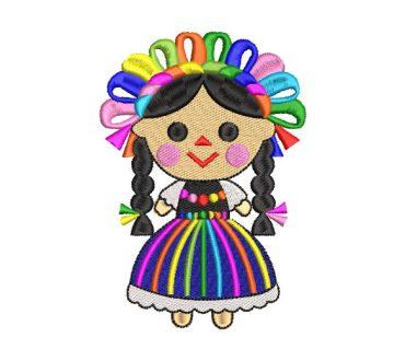 Muñeca con Corona de Flores Diseños de Bordado
