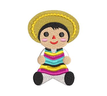 Muñeco Infantil con Sombrero Diseños de Bordado