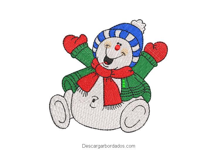 Muñeco de nieve alegre diseño bordado de navidad