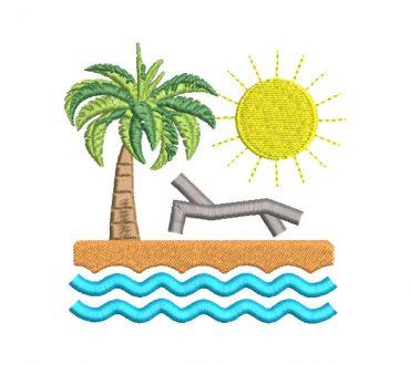 Paisaje de la Playa Diseños de Bordado