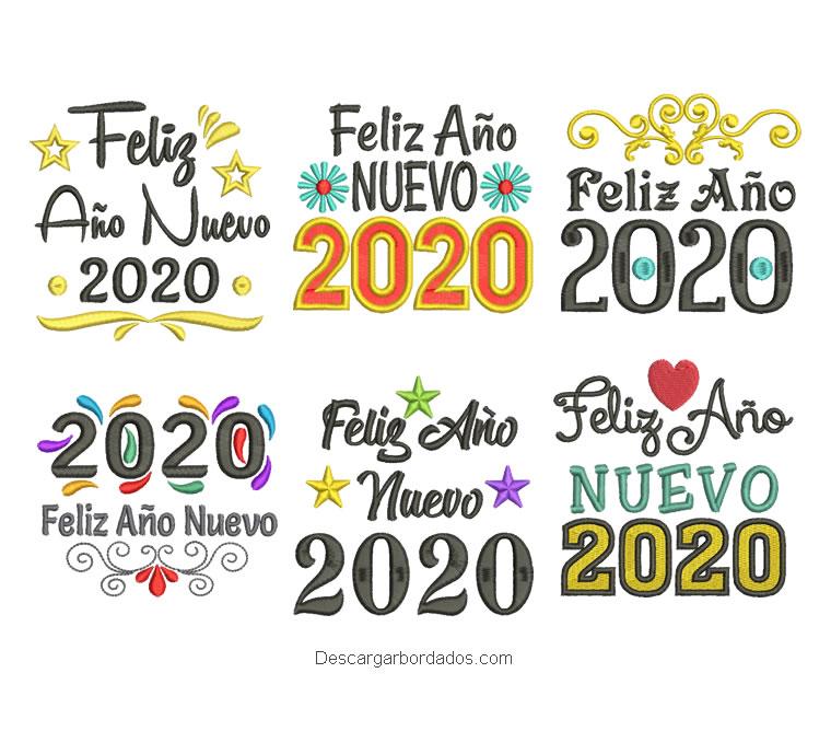 Paquete 6 bordado de Feliz Año Nuevo 2020