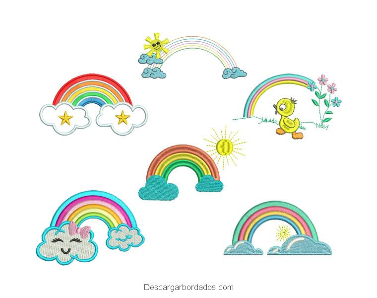 Paquete 6 diseños bordados arco Iris
