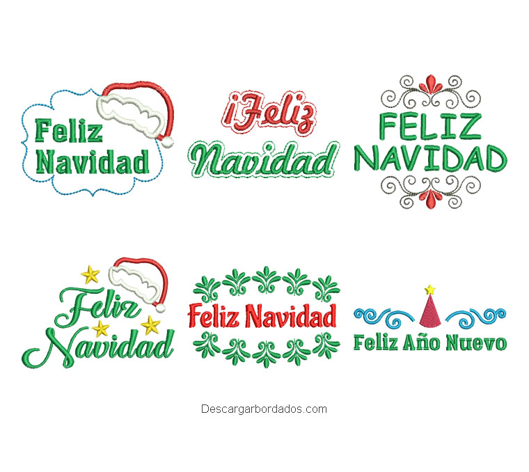 Paquete de 6 diseños bordados letra de feliz navidad