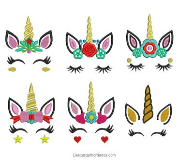 Paquete diseños de unicornio bordado para maquina